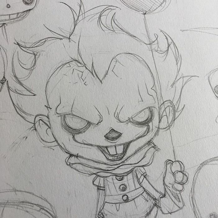 pennywise the dancing clown, it movie inspired, black and white, pencil sketch, anime girl face