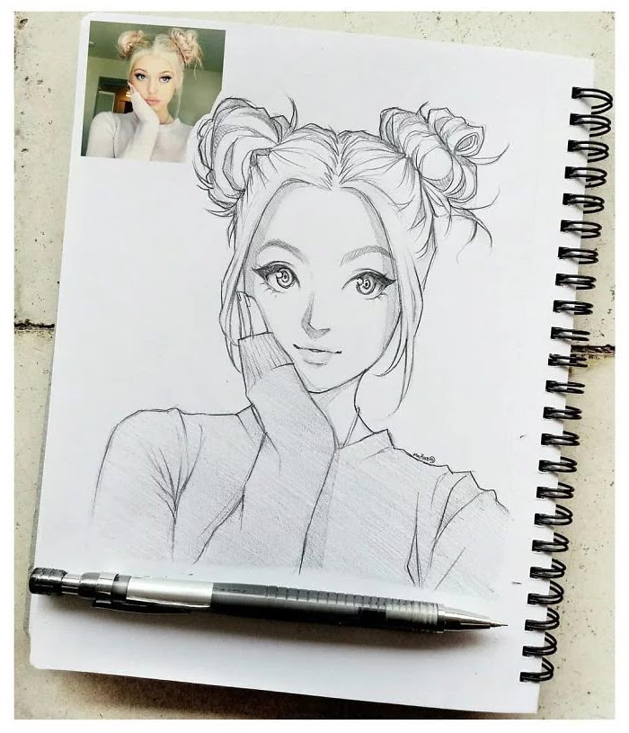 drawn from photo, girl drawing easy, black and white, pencil sketch