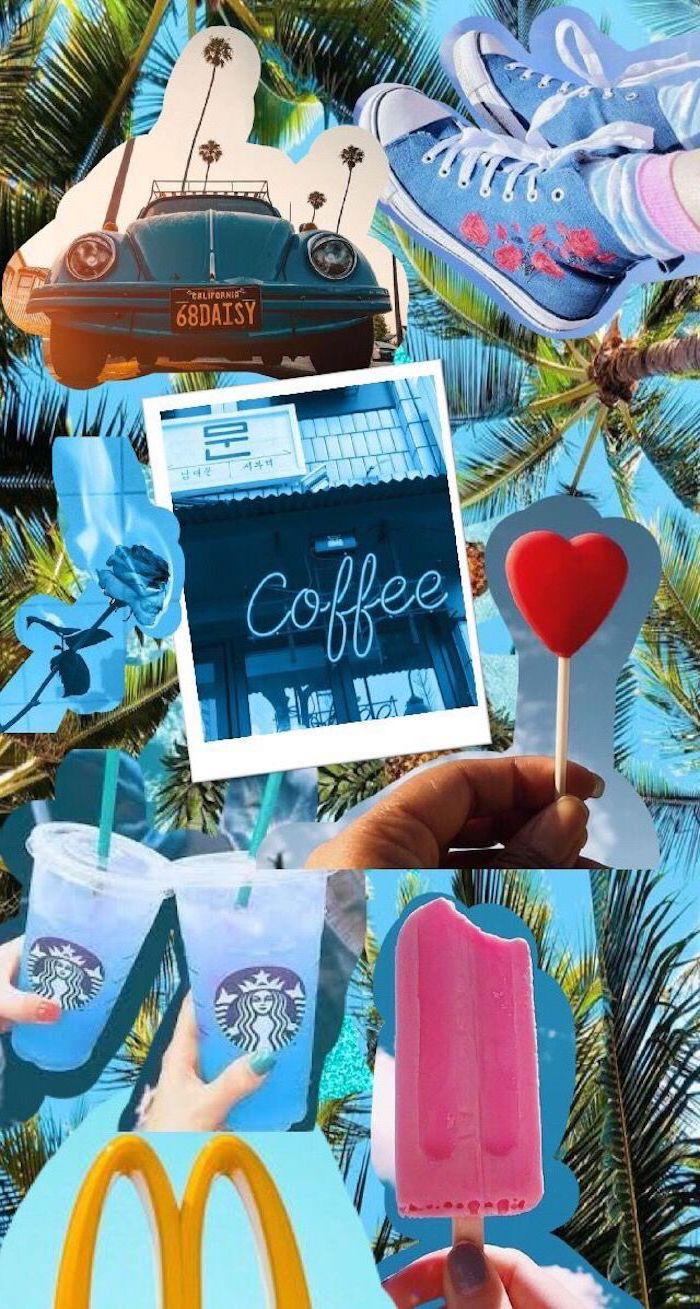photo collage, cute backgrounds for girls, vintage car, starbucks cups, blue sneakers