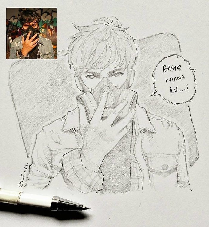 black and white, pencil sketch, drawn from a photo, draw anime step by step, boy drawing