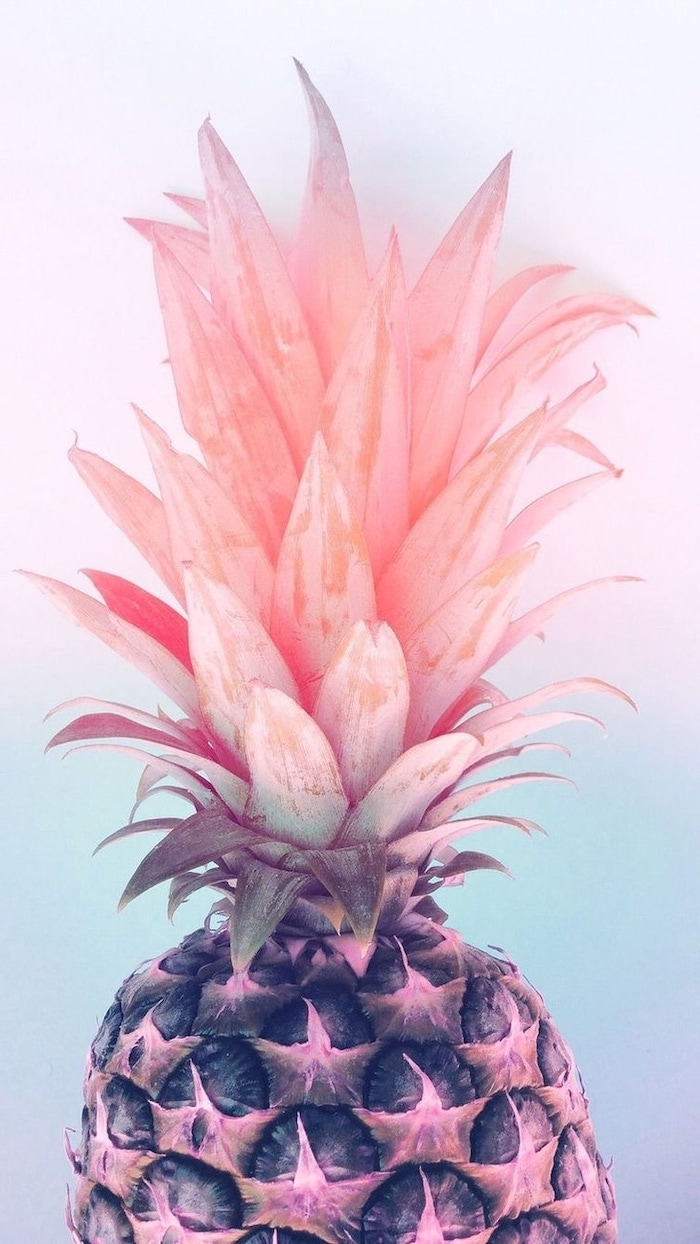 whole pineapple, with a pink crown, cute backgrounds for girls, pink and blue background