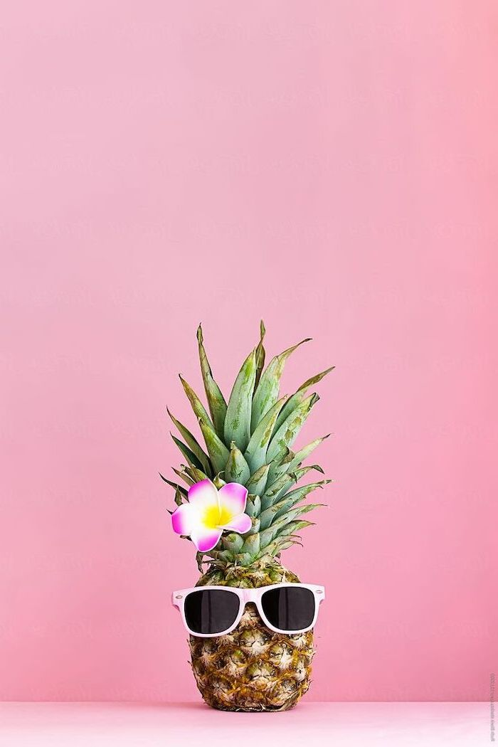 pineapple with sunglasses, pink flower, cute backgrounds for girls, pink background