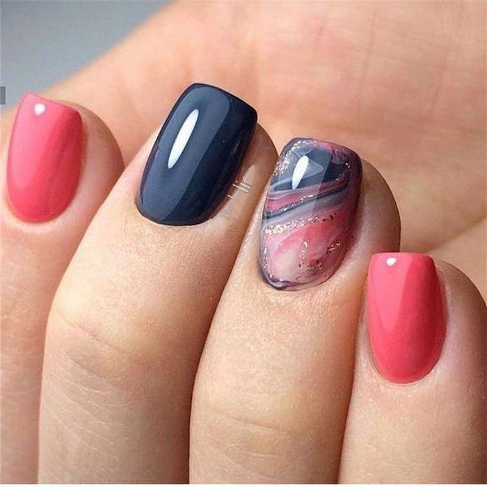 pink and dark blue nail polish, nail color ideas, blue pink and gold marble