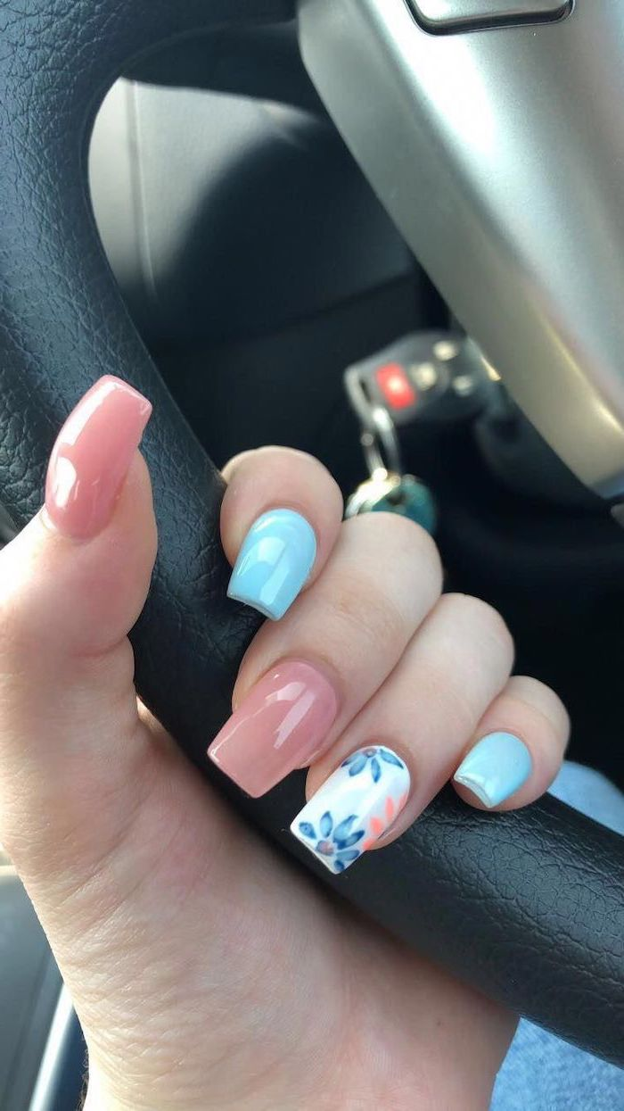 pink and blue nail polish, blue and pink flowers, nail design ideas, steering wheel