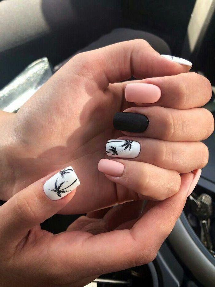 black and pink, matte nail polish, black palm trees, nail design ideas