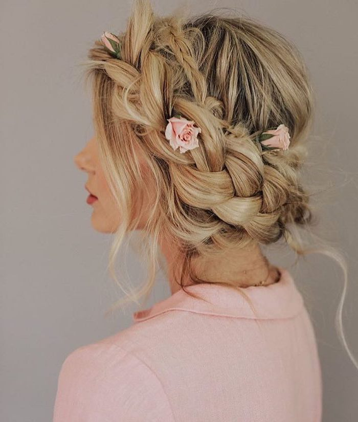 pink roses, braided updo, blonde hair, with highlights, natural hairstyles braids, pink jacket