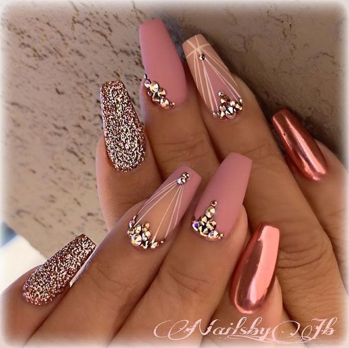 pink matte, pink chrome, rose gold glitter, nail polish, with rhinestones, what color should i paint my nails