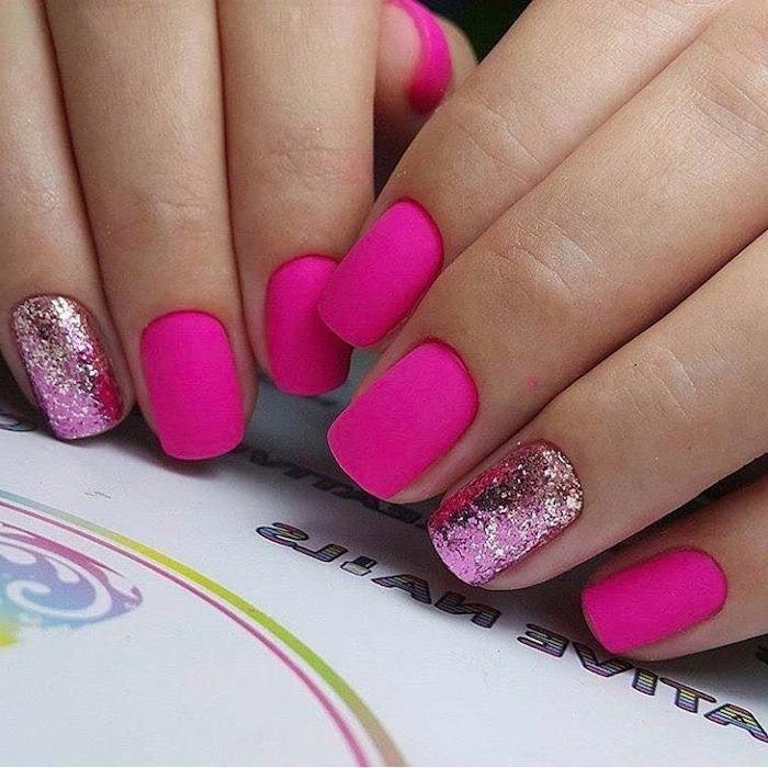 pink matte, what color should i paint my nails, pink glitter, nail polish, short nails