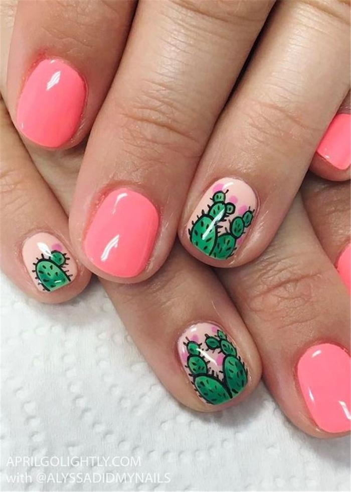 pink nail polish, green cactuses, nail design ideas, short nails, white background