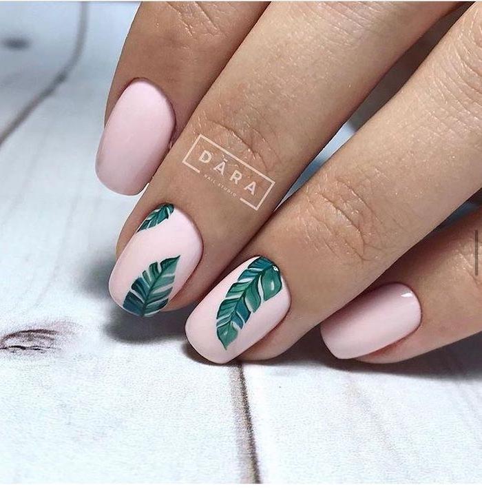 pink nail polish, green palm leaves, short nails, beach nail designs, white background