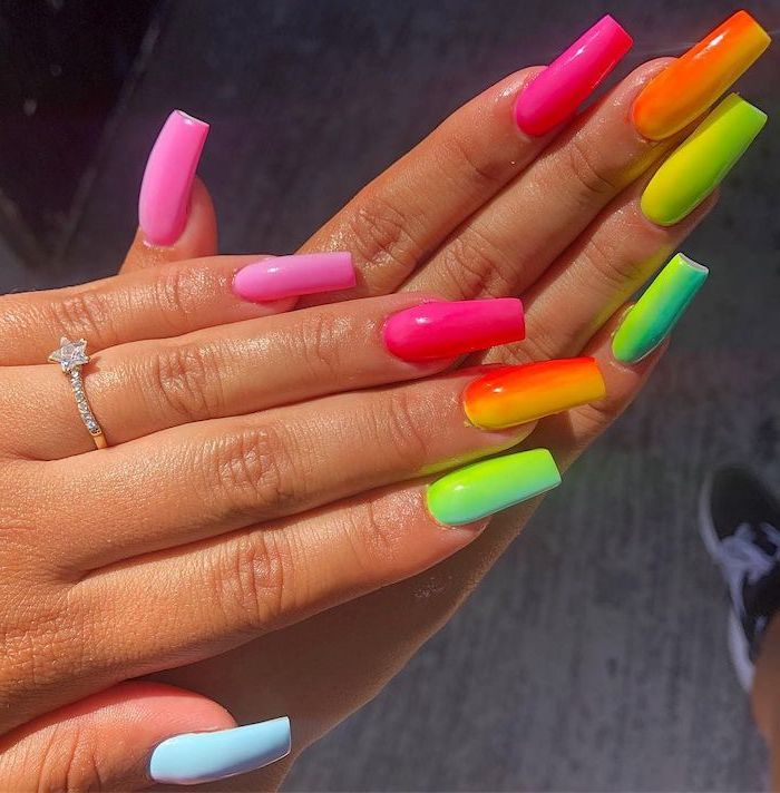 long nails, silver ring, nail designs for short nails, rainbow colors, from warm to cold, ombre effect