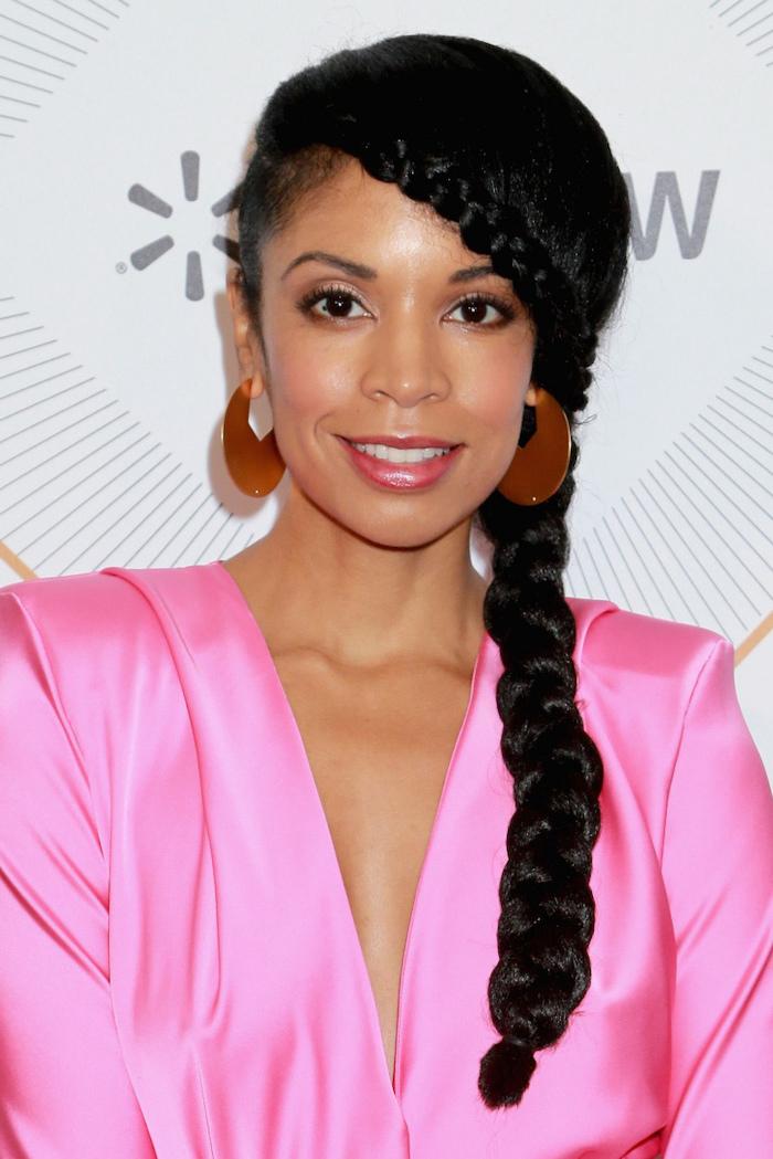 pink satin dress, black hair, side braid, natural hairstyles braids, gold earrings