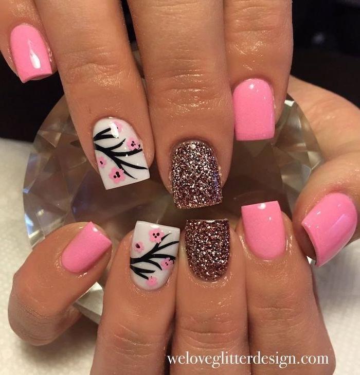 pink and white nail polish, pink glitter, beach nail designs, blossoming tree branch