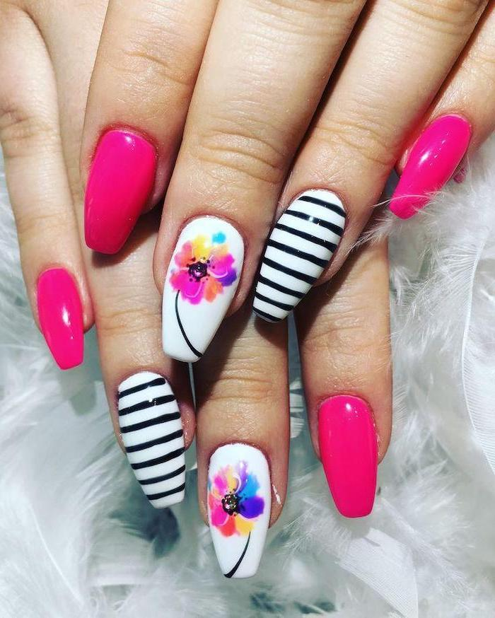 pink and white nail polish, watercolor flower, nail designs for short nails, black and white stripes
