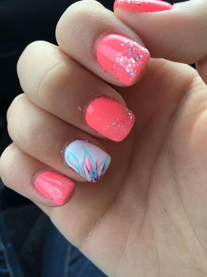 pink and white nail polish, colorful flower, beach nail designs, silver glitter