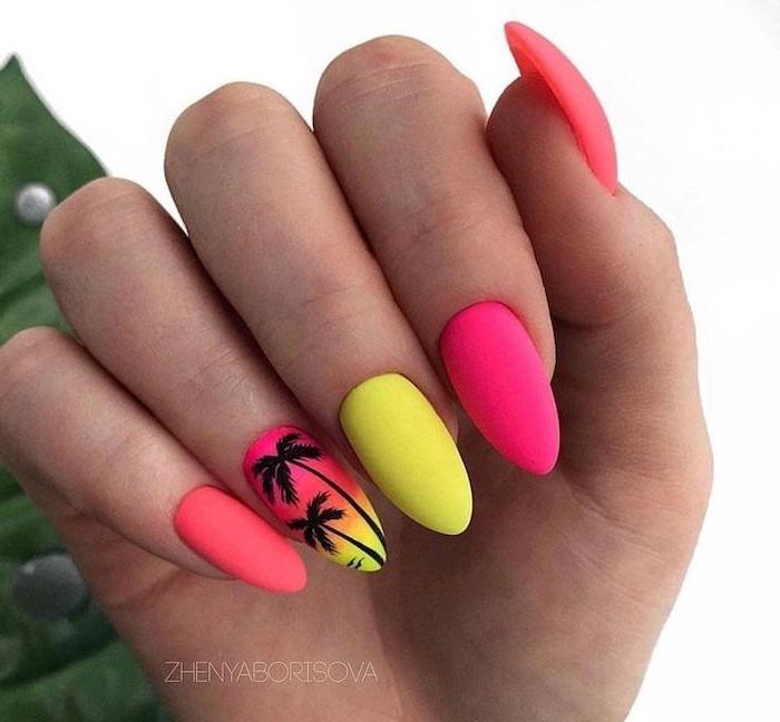 orange pink and yellow, neon nail polish, beach nail designs, black palm trees, at sunset