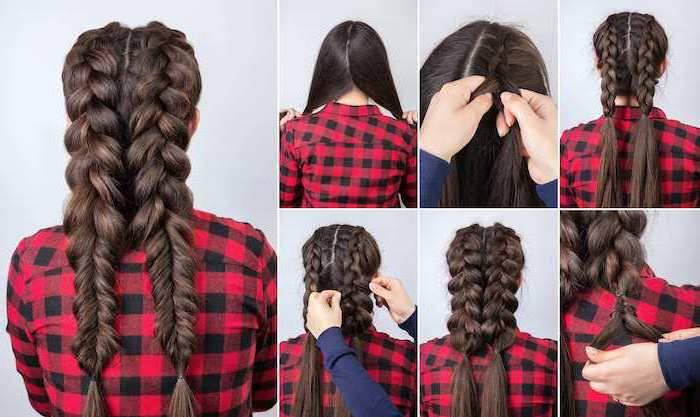 step by step, diy tutorial, red plaid shirt, natural hairstyles braids, brown hair, two braids