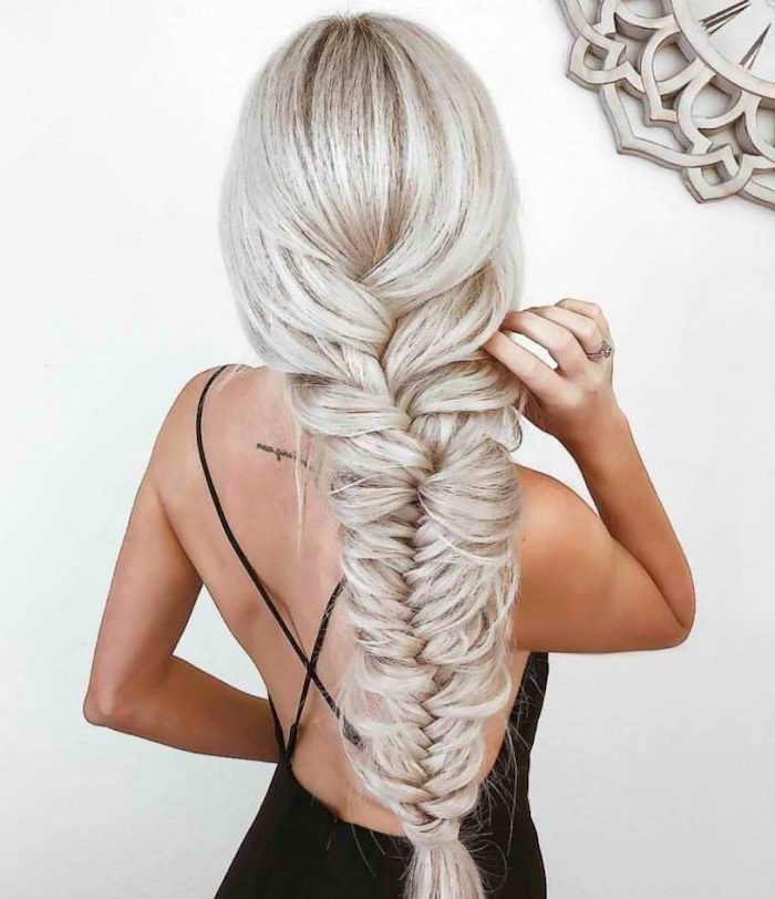 cornrow braid hairstyles, platinum blonde hair, loose fishtail braid, black dress