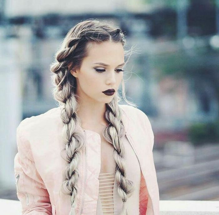 two side braids, dark blonde hair, ash grey hair, ombre hair, cornrow braid hairstyles, dark red lipstick