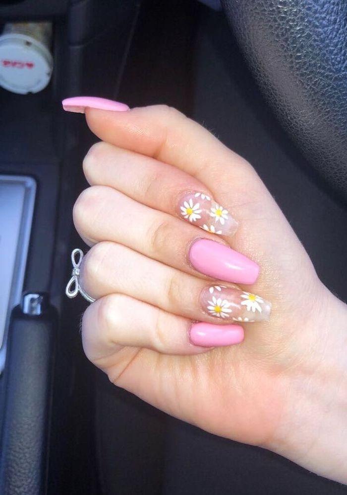 pink nail polish, white daisies, nail designs for short nails, black background, long nails