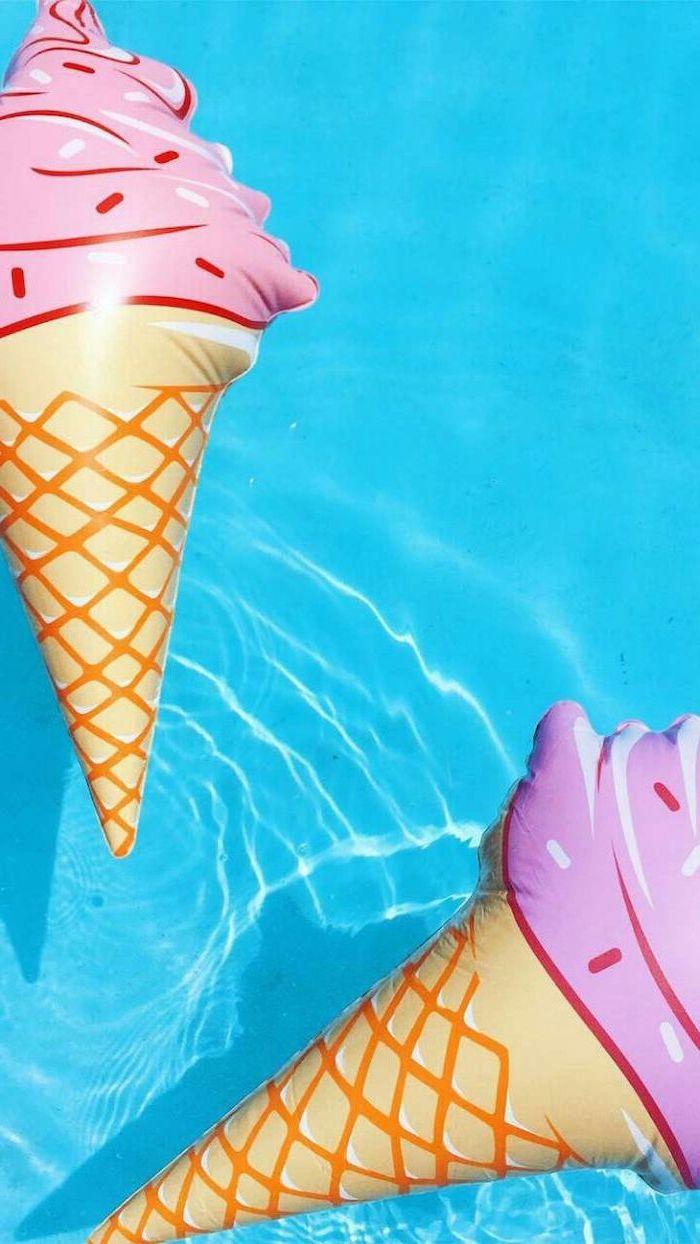cute lockscreens, blue pool water, ice cream, pool floats
