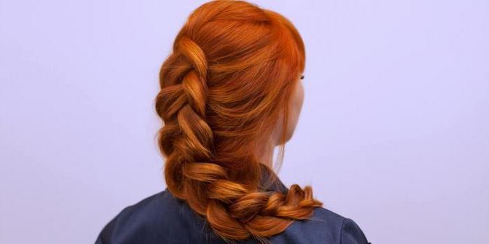 red hair, large braid, purple background, easy braid hairstyles, blue shirt