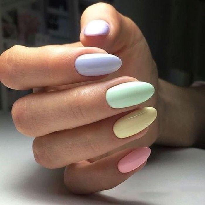 cute short nails, purple and green, yellow and pink, nail polish, almond nails