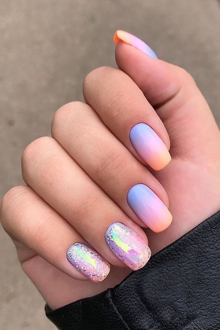 nude nail designs, blue purple and orange ombre, chrome and glitter, black leather jacket