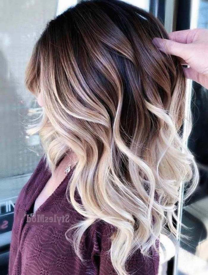 brown to blonde, medium length, wavy hair, rose gold ombre hair, purple top