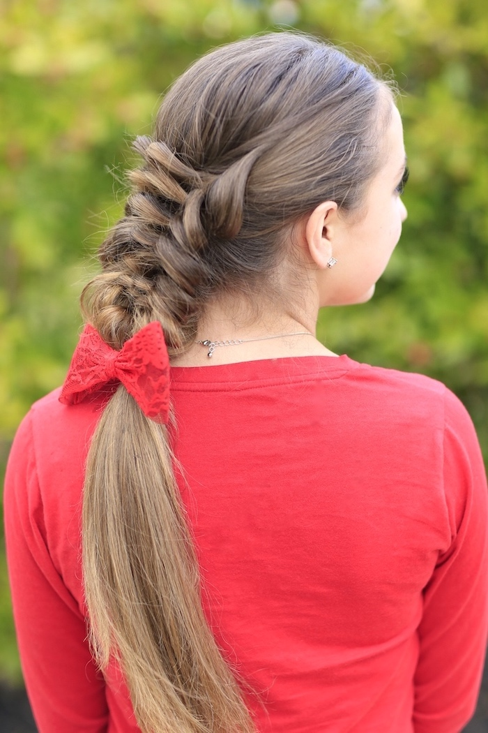 red shirt, red bow, loose braid, dark blonde hair, cornrow braid hairstyles