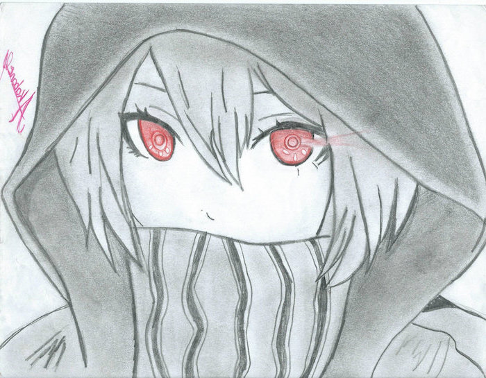 black and white, pencil sketch, draw anime step by step, red eyes, girl drawing