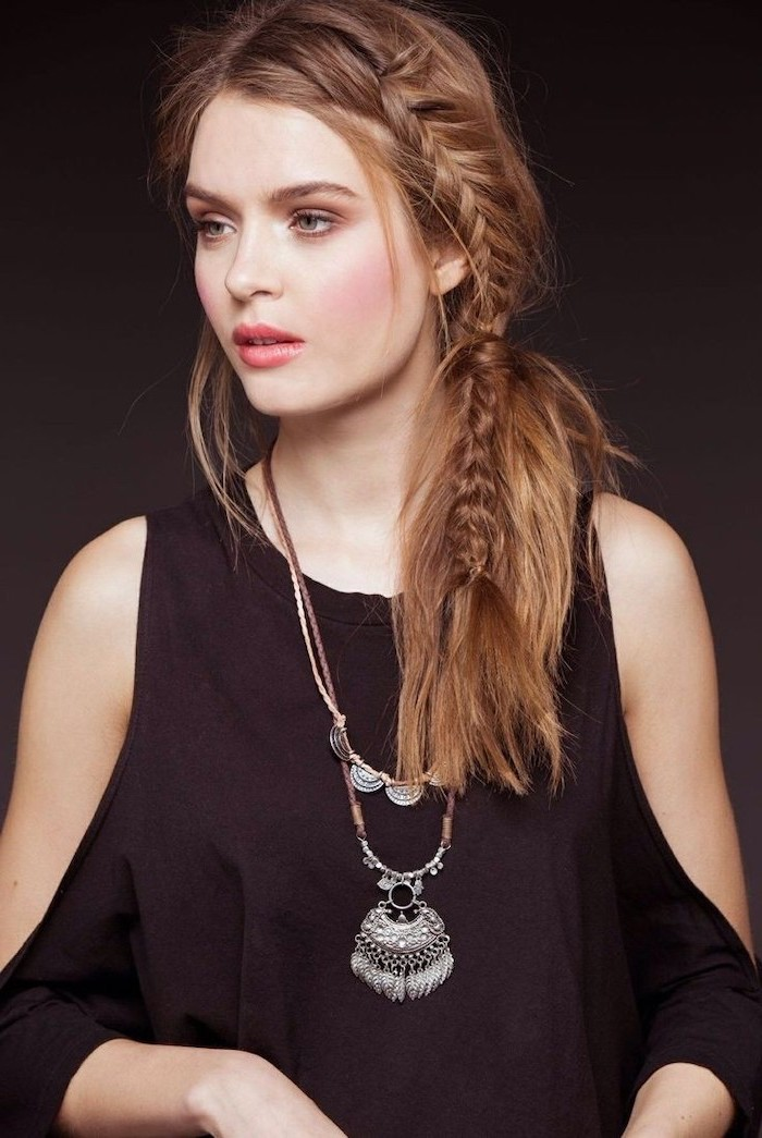 black top, dark blonde hair, side braid, with ponytail, cornrow braid hairstyles, large necklace