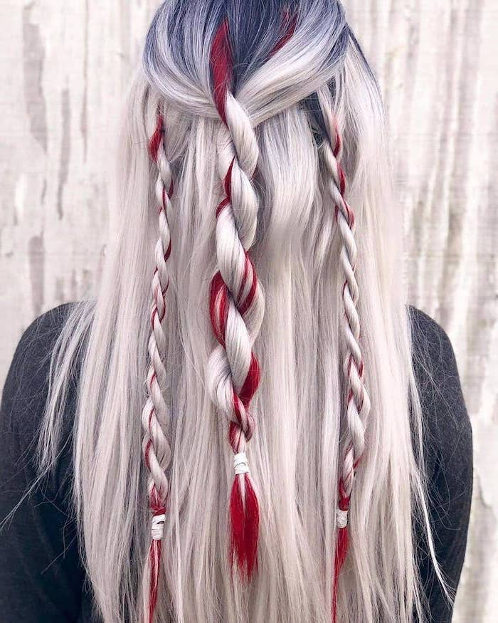 platinum blonde hair, red highlights, different types of braids, twisted braids, black blouse