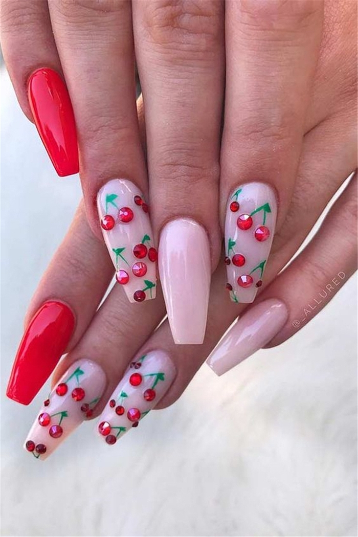red and pink, nail polish, cherries made with red rhinestones, cute short nails, white background