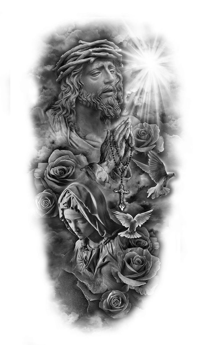 religious theme, black and white sketch, forearm sleeve tattoo