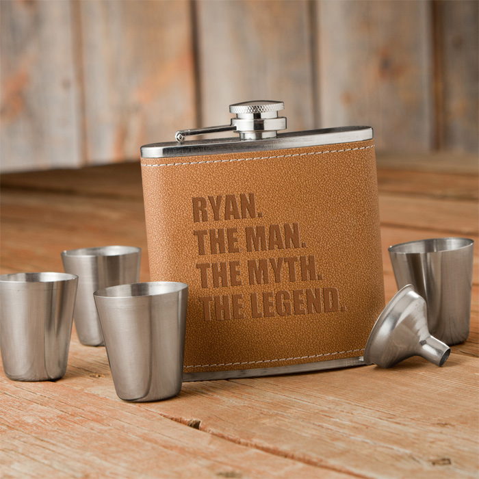 metal flask, with brown leather, groomsmen proposal, metal shot glasses, wooden table