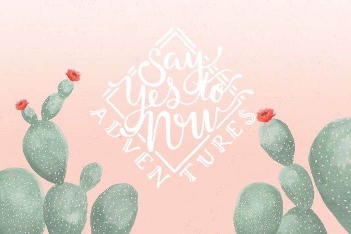 say yes to now, cute wallpapers for lock screen, green cactuses, pink background