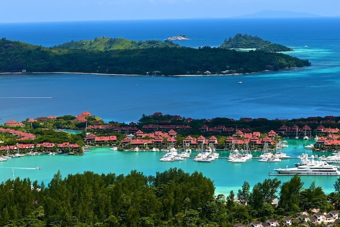 seychelles islands, houses and villas, yachts and boats, on the marina, turquoise water