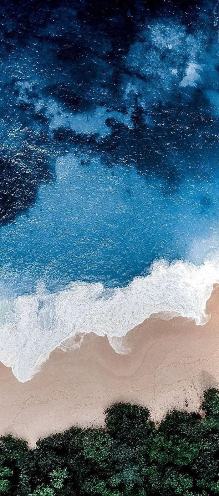 shades of blue, ocean water, beach and trees, cute wallpapers