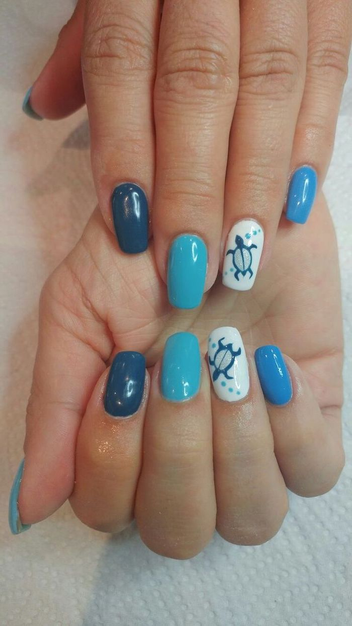 blue and white nail polish, sea turtle drawing, nude nail designs, white background