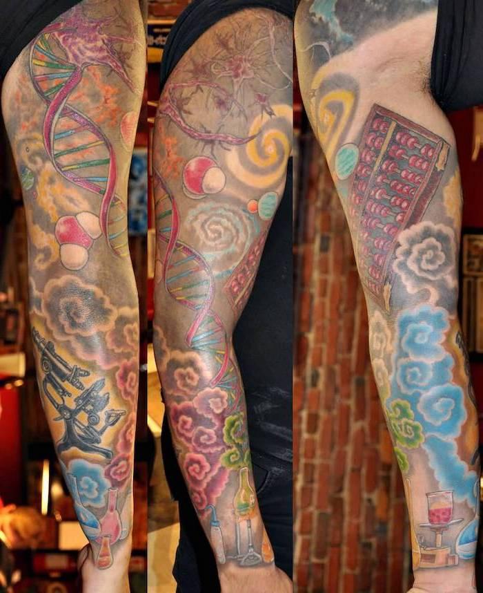 science theme, coloured tattoo, female half sleeve tattoos, brick wall