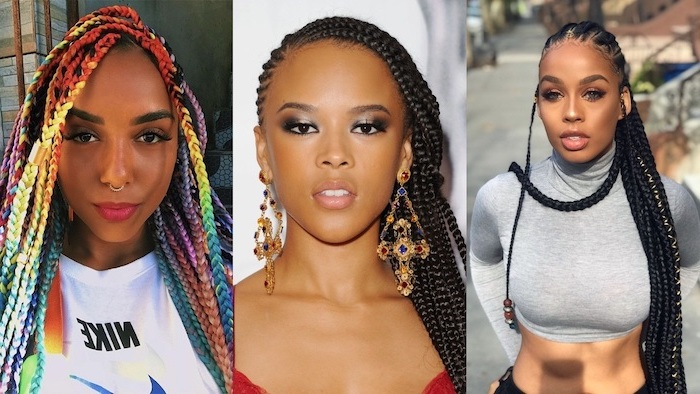 colourful braids, black hair, side by side photos, how to do a french braid