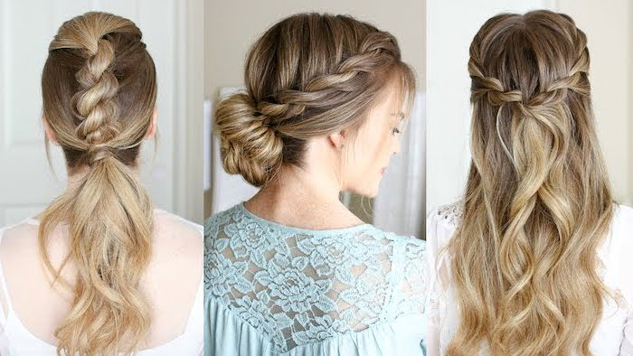 different types of braids, blonde hair, braided updo, side by side photos