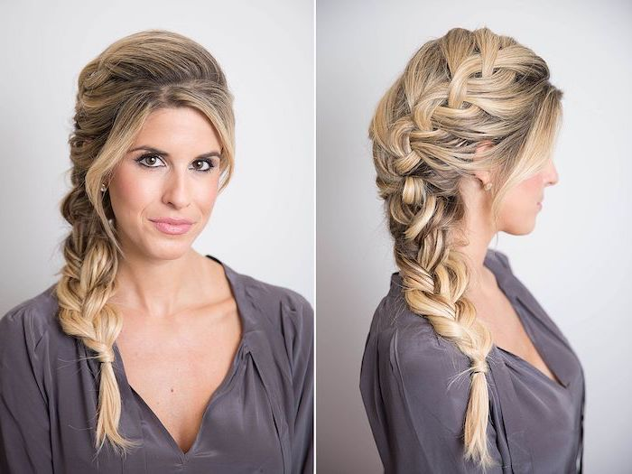 loose side braid, blonde hair, side by side photos, different types of braids, grey satin top