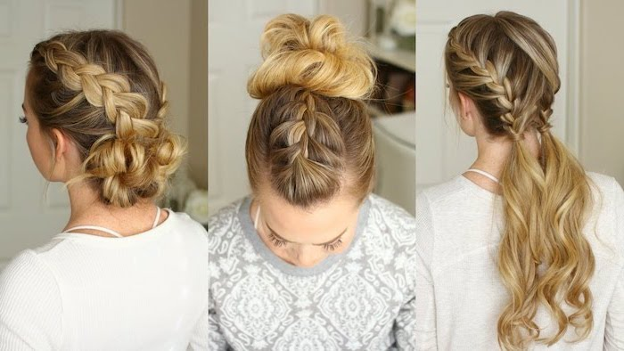 three different hairstyles, side by side photos, how to do a french braid, blonde hair