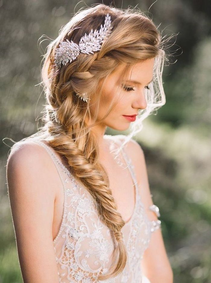 half up half down braid, side fishtail braid, blonde hair, hair accessory, white lace dress