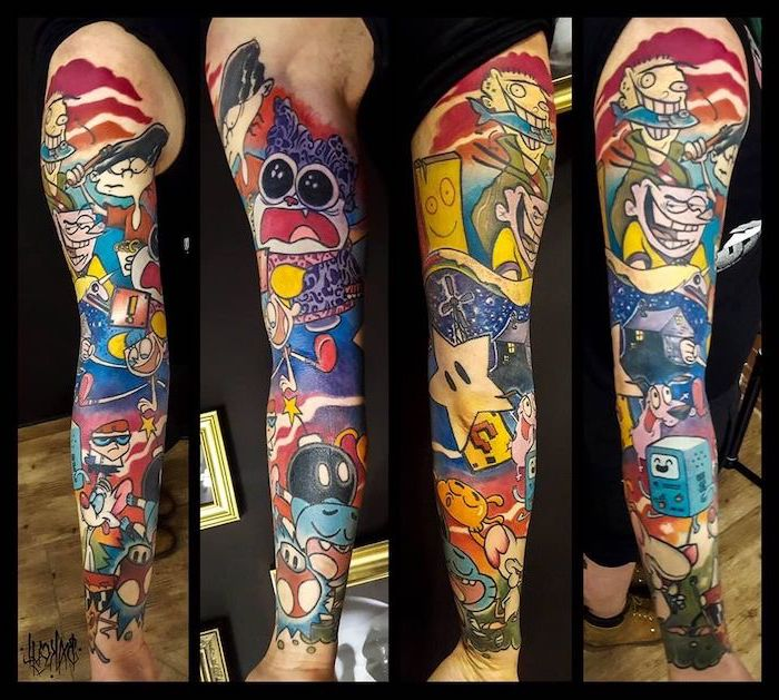 religious tattoo sleeve, cartoon network characters, new school tattoo