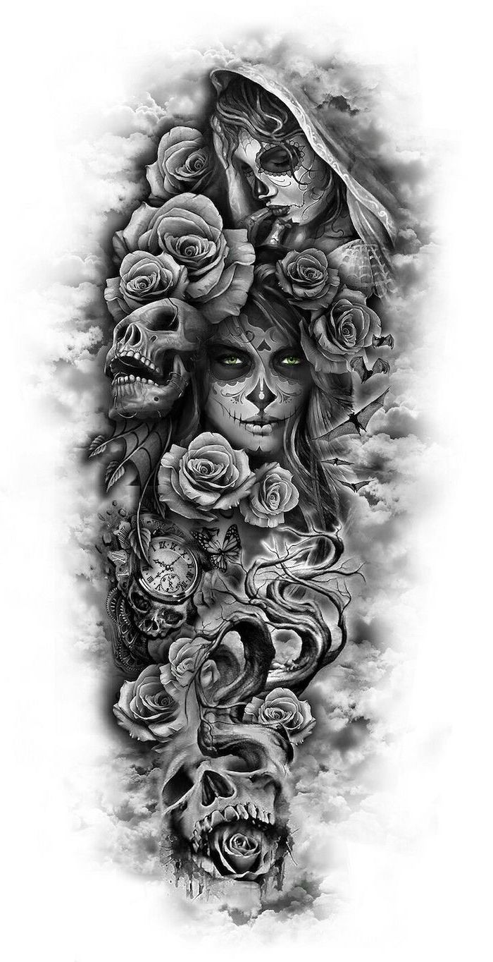 tribal sleeve tattoos, black and white sketch, female faces, skulls and roses