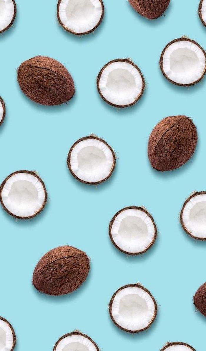 sliced coconuts, on a blue background, cute lockscreens
