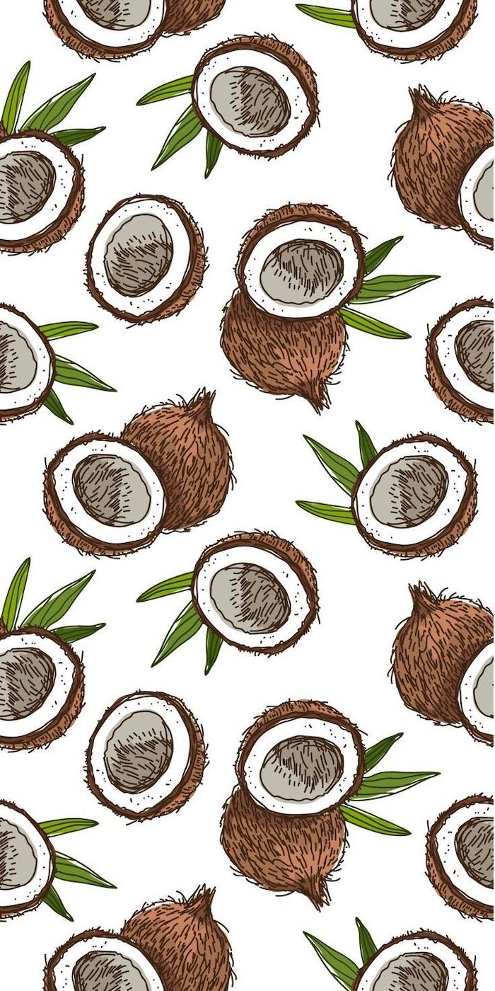 colored drawing, of sliced coconuts, cute phone backgrounds, white background